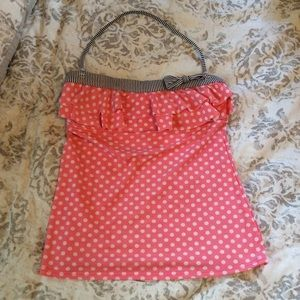 Pink Polka Dot Ruffle Bathing Suit Top